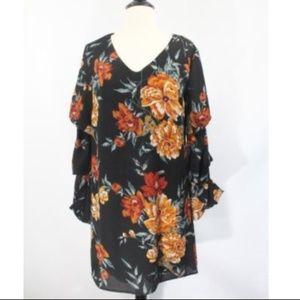 Charlotte Ruse Long Sleeve Dress Floral New black
